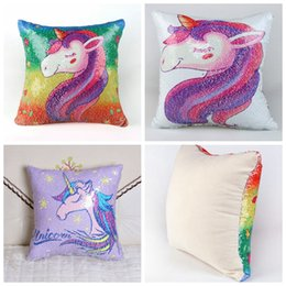 Wholesale pillowcase kids - Two color sequins unicorn pillowcase new Mermaid pillow cushion cover kids room sofa car decoration holidays gifts