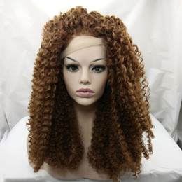 Wholesale 1b Burgundy Color Wigs - #1b #4 #6 Medium Brown Color kinky curly 150% Density 22inch long length Synthetic Lace Front Wig For Africa Women