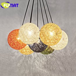 Wholesale E27 G4 Led - FUMAT Colorful Rattan Field Pasta Ball E27 LED String Pendant Restaurant Bar Cafe Lamps Fairy Hanging lamps Lights Longree