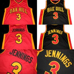 Wholesale hills shipping - Mens Bran don JENNINGS #3 Oak Hill High School Jersey 100% Stitched Retro Basketball Jerseys Red Black Free Shipping S-XXXL