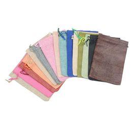 Canada Blanc Plain Petit Tissu Sac Cordon Bijoux Poche Cadeau Emballage Poche DIY Vide Candy Thé Sac De Rangement T2I390 Offre