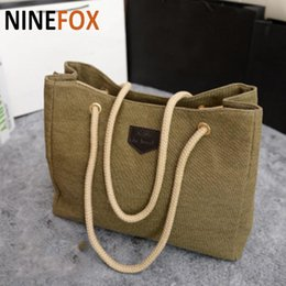 Wholesale Double Shoulder Strap - New Canvas Handbags Personality Contracted Large Bag Double Rope Shoulder Strap tote hand Bags For Women
