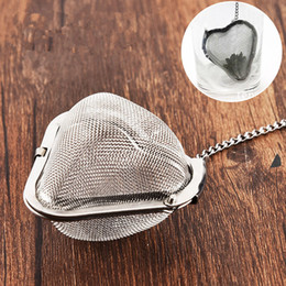 Wholesale Heart Shaped Tea - New Heart shaped 304 Stainless Steel Tea Infuser Strainers Filter Tea Ball