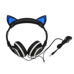 Canada Clignotant pliable rougeoyant oreille chat oreillette de jeu casque avec lumière LED pour ordinateur portable PC portable téléphone cheap ear phone for laptop Offre