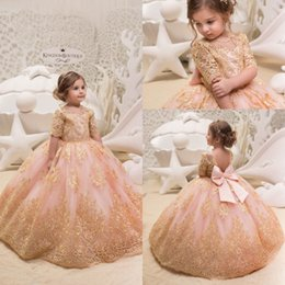 flower birthday party for kids 2018 - 2019 Cute New Gold Lace Flower Girl Dresses for Weddings Tulle Ball Gowns Baby Girl Communion Dresses Children Kids Pageant Party Gowns