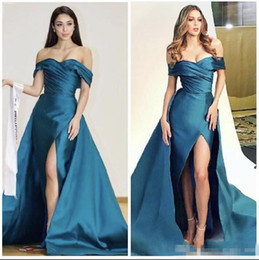 Wholesale Legging Sexy Models - Satin Long Prom Dresses Leg Split Pleats Off The Shoulder Satin Evening Dress Sweet Train Custom Made Celebrity Cocktail Gowns