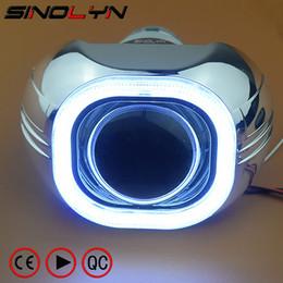 Wholesale halo headlight kits - SINOLYN Metal 3.0'' H4 Q5 D2S Bi xenon Lenses HID Projector Lens Headlight Kit Square COB LED Angel Eyes Halo White Car-styling
