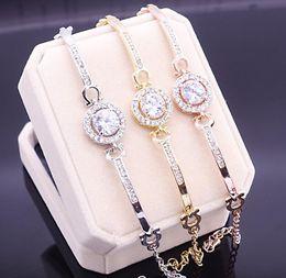 Canada Nouvelle Arrivée Coréenne Mignon Bijoux De Luxe 18 K BlancRoseGold Rempli Multi Couleur CZ Cristal Chaude Femmes Bracelet Chaîne pour Cadeau des Amants cheap korean cute bracelet Offre