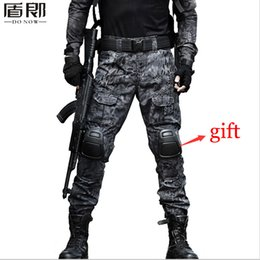 Wholesale Mens Multi Pocket Cargo Pants - Wholesale-Mens Military Tactical Loose Multi Pocket Militar Cargo Pants Ripstop Camouflage Combat Tactical Army Trousers With Knee Pads