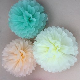 Wholesale white paper flowers - Wedding Party Decoration Craft Flower 10pcs Tissue Paper Pom Poms Flower Balls Wedding Party Tissues Papers Pompoms 1 66gx4 gg