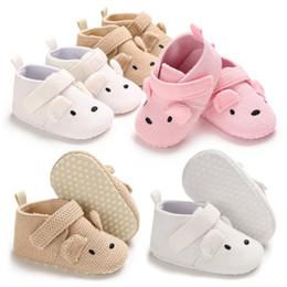 tecido padrão sapatos bebê Desconto Crianças Meninas tecido de malha sapatos Cute Baby sola macia Padrão de urso primeiros caminhantes 3 cores antiderrapantes primeiros caminhantes