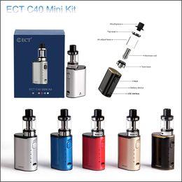 Wholesale Mini Electronic Cigarette Starter Kits - Original ECT C40 mini 40W e cigarette Box Mod Starter Kits 2.0ml 1800mah electronic cigarette vape pens