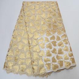 Tecido organza para vestidos de noiva on-line-Africano duplo organza tecido de renda de alta qualidade de ouro tecido de renda organza francês com lantejoulas 5 metros para o vestido de noiva AD639