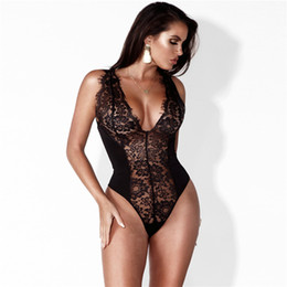 88e09769d2c lingerie bodysuits plus size Promo Codes - Yhotmeng Deep V lace hollow sexy  lingerie hot shapers