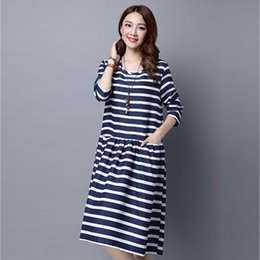 Wholesale ladies korean winter dresses - Dioufond Korean Midi Casual Dress Plus Size XXL Women Clothing White Blue Striped Plaid Dress Autumn 2017 Spring Ladies Dresses