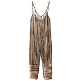 e83a8d9efd4 Vintage V neck Striped Print Pleated Spaghei Strap Long Jumpsuit 2018 Woman  Backless Loose Full length Rompers Bodysuits