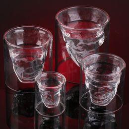 Wholesale Doomed Shot Glass - 2018 New Creative Designer Skull-Head Shape Shot Glass Fun Doomed Transparent Party Doom Drinkware Gift for Halloween 4 sizes