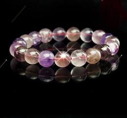 Hombres y mujeres modelos púrpura natural pelo cristal fresa cristal pulseras fabricantes venta al por mayor moda noble joyería pulsera 7mm desde fabricantes