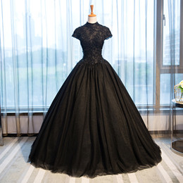 Discount gothic black lace dress - 2018 Black Gothic Wedding Dresses High Collar Casamento Vintage Bridal Gowns Shiny Beaded Appliques Vestido De Novia