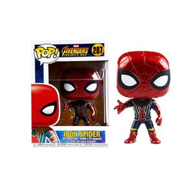 Wholesale Iron Man Funko - 20161207 2018 Hot Sales Products Funko POP Marvel Super Hero The Avengers Spider-Man Iron Man Thanos Captain America People Lovely Can Gift