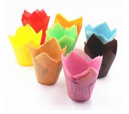 Muffin decoração molde on-line-200 pcs pacote de bolo de papel ferramenta de decoração molde tulipa flor de chocolate queque envoltório de cozimento muffin forro de papel descartável