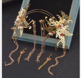 Traje de pajarita roja online-Novias chinas, trajes antiguos, tocados, flecos, peldaños, meneos, adornos de Phoenix, perlas rojas, pajaritas, accesorios de boda.