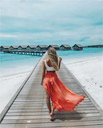 Wholesale Black Asymmetric Skirt - 2018041115 Ruffles Back Bow Summer Skirt Women Asymmetric Ankle-Length Maxi skirts Women Casual Beach Skirts 2018 faldas mujer