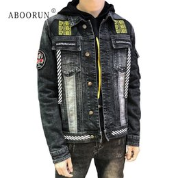 cf5ac3cd08e ABOORUN Men s Skinny Denim Jacket Fashion Embroidery Patchwork Jean Jacket  Spring Autumn Coat for Male x1824 male denim jacket design on sale
