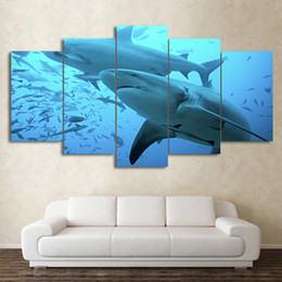 Wholesale one piece combination - Modern Canvas Wall Art Frame HD 5 Pieces Deep Blue Ocean Animal Poster Big Shark Painting Printed Pictures For Living Room Decor