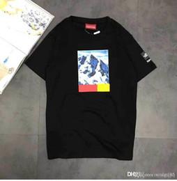 T shirt schnee online-Großhandelsart und weise großes T-Shirt gemeinsamer Name KASTEN-LOGO-Kastenmänner und -frauenpaare Baumwollkurzarmhemd T-Shirt Schneebergkurzschlusshülse