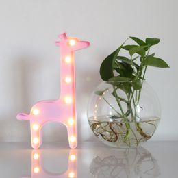 Освещение жирафов онлайн-LED 3D Night Light Animal Shape Giraffe Lamp Child Gift Toy For Indoor Lighting Birthday Party Wedding Decoration ZQ-CY1042
