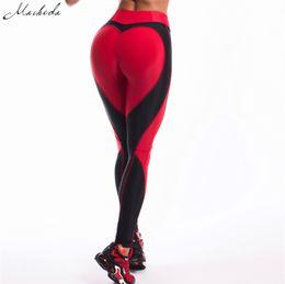 f913b553a72 Heart Shape Leggings Women New Red Black Color Patchwork Print Leggins Big  Size High Elasticity Fitness Leggings