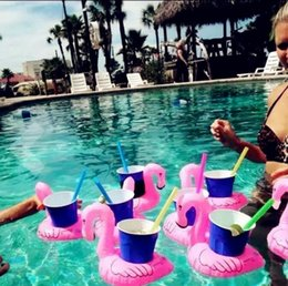 Wholesale Cartoon Drink Cup - Inflatable Flamingo Drinks Cup Holder Pool Floats Bar Coasters Floatation Devices Children Bath Toy 10 p l
