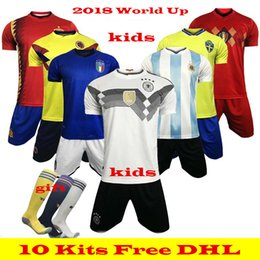 Wholesale children gold set - Wholesale 2018 World Cup kids kit soccer jersey Morocco Brazil Spain Mexico Uruguay Mexico Argentina E.HAZARD Belgium child soccer sets