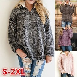 Wholesale Fleece Zip - Womens Sherpa Pullover 1 4 Zip Turtleneck Oversized Fluffy Fleece Sweatshirts