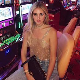 2019 vintage halter top blau GACVGA 2017 Glitter Frauen Strass Party Tank Tops Sommer Strand Kristall Bustier Crop Top Sexy Diamanten Nachtclub T-Shirt Camis