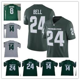 camisa de sino Desconto NCAA Michigan estado espartanos 14 Brian Lewerke 8 Kirk Cousins 24 LeVeon Bell branco costurado camisolas de futebol da faculdade