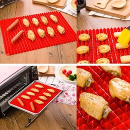 Wholesale Wholesale Bread Loaf Pans - 40.5*29cm Pyramid Pan Non Stick Mat Silicone Cooking Mat Oven Baking Tray Sheets Oven Baking Tray Mat Kitchen Tools