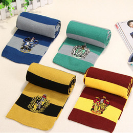 Wholesale Striped School Scarves - New Harry Potter Scarf Gryffindor School Unisex Knitted Striped Scarfs Gryffindor Scarves Harry Potter Hufflepuff Scarfs Cosplay