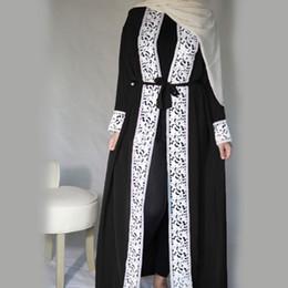 abaya vêtements islamiques femmes Promotion Malaisie Open Abaya Robe turque Vêtements islamiques Femmes Dentelle épissée Couture Dentelle Mode Musulman À manches longues Lâche Grande Swing Dress