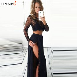 Pizzo raccolto superiore casuale delle donne del vestito online-2018 nuovo arrivo 2 pezzo set donne abito in pizzo o-collo manica lunga crop top + sexy lato diviso gonna lunga casual donne dresse