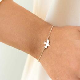 Wholesale fly charm - FAMSHIN Tiny Peace Dove Bracelet Soar Flying Birds Bracelet Little Cute Swallow Baby Bird Bracelets Abstract Bracelets