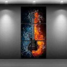 2019 spray de guitarra 3 Panel Guitar flama água Abstract Artístico Desenho retrato da arte da parede Spray de Pintura A Óleo Decoração Lona Impressa para Decoração de Casa desconto spray de guitarra