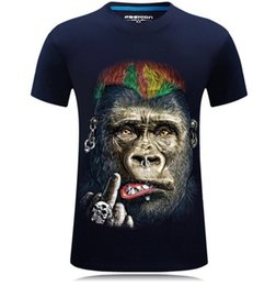 Wholesale Fat Clothes - Retail-wholesale personality funny orangutan designer clothes plus size fat animal t shirt print streetwear fashion tee t shirts for men