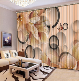 Wholesale Circle Punches - Europe Curtains pink circle flower Polyester 3D Curtain For Bedroom Living room Blackout 3D Window Curtain Home Decorative
