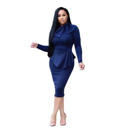 Wholesale Formal Attire - NEW red dress girl Fashion Women Office Dresses Peplum Pencil Dress Sleeve Formal Business Attire Wear Work Dresses Outfits eam