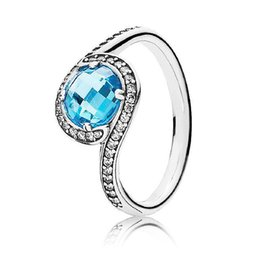 Wholesale Wholesale Jewelry Embellishments - New 925 Sterling Silver Ring Radiant Embellishment With Sky-Blue Crystal Ring For Women Wedding Party Gift Fine Europe Jewelry