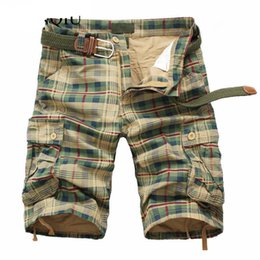 Wholesale Beach Cargo Pants - Men Shorts 2018 Fashion Plaid Beach Shorts Mens Casual Camo Camouflage Shorts Military Short Pants Male Bermuda Cargo Overalls
