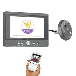 """Visualizzatore porta digitale senza fili online-720P WiFi Wireless Digital Peephole Door Viewer 5 """"Porta Peephole Camera Wifi Campanello con citofono o scattare foto o prendere video"""