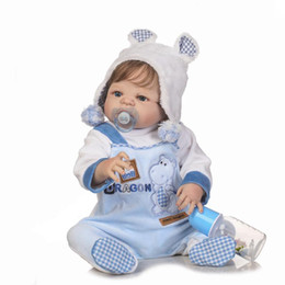 Wholesale Real Full Silicone Dolls - 22inch Boneca Bebe Reborn Doll 55cm Full Body Silicone Doll Baby Real Boy Blue Eyes Bebe Reborn Menino with Soft Blue Clothes